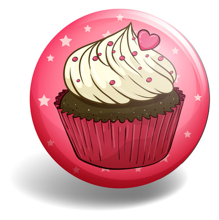 topping: Cupcake with heart topping on pink badge Illustration