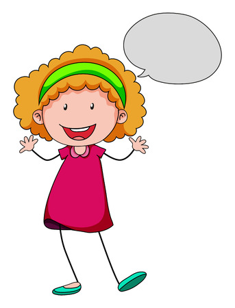 curly hair child: Girl speaking with speech bubble