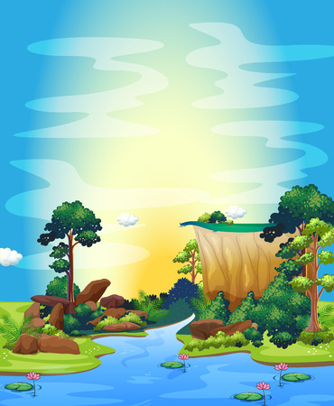 River scene during the sunset Vector