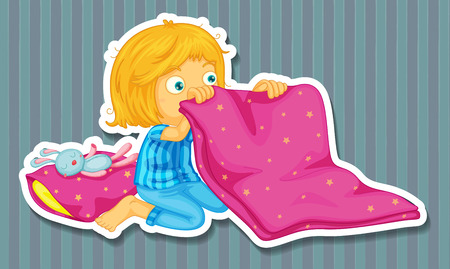 chores: Girl in blue pajamas folding blanket Illustration