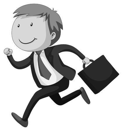 happy businessman: Happy businessman with a briefcase running