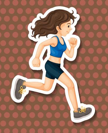 sportswear: Woman in sportswear running alone Illustration