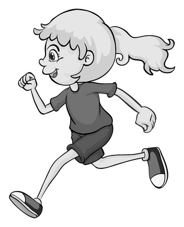 smile close up: Cute girl running in gray