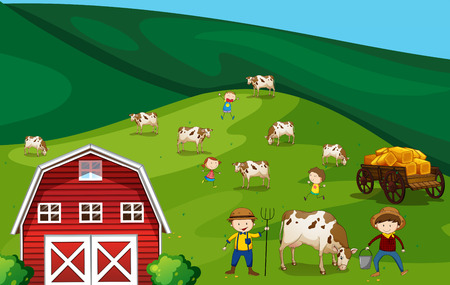 children cow: Farmers working in the farmland with cows