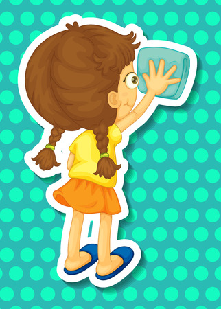 cleaning cloth: Girl cleaning with the towel Illustration