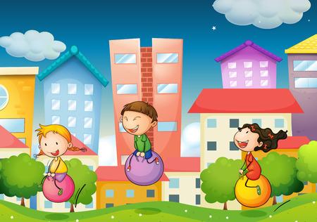 niños jugando: Niños rebotando pelota en el parque