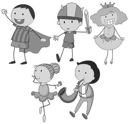 smile close up: Boy and girl doing different activities Illustration