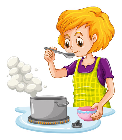 cooking utensils: Woman making soup in the kitchen