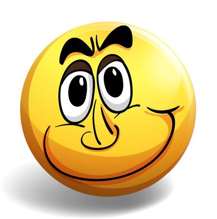 carita feliz: Cara feliz en bola amarilla redonda