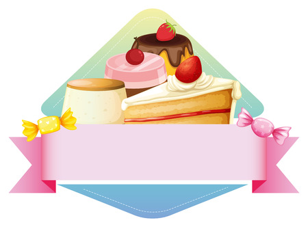 layout strawberry: Banner template with different kind of dessert background