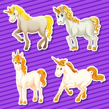 a legend of magic: Set of white unicorn in different positions