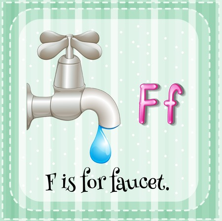 Flashcard letter F is for faucet Vector