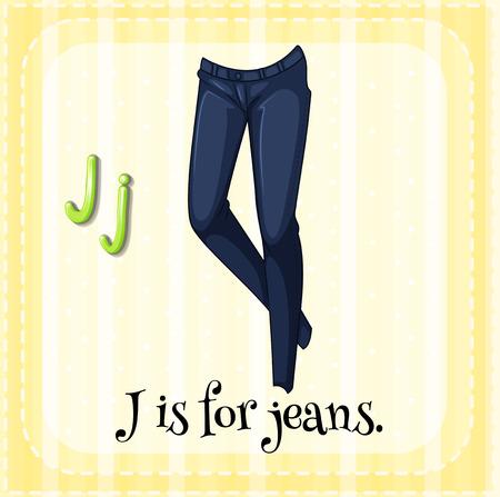 Flashcard letter J is for jeans Illustration