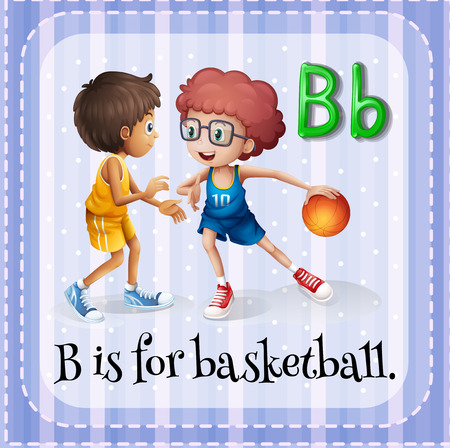 b ball: Flashcard letter B is for basketball