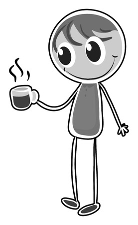 man carrying: Doodle happy man carrying a coffee cup Illustration