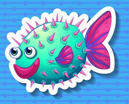 puffer fish: Happy fish with thorns on its body
