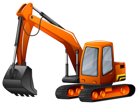 Closeup excavator with big shovel Illustration