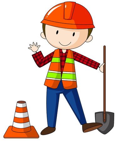 hard hat: Construction worker wearing hard hat carrying a shovel Illustration
