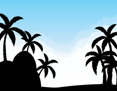 coconut trees: Silhouette scene with coconut trees at daytime