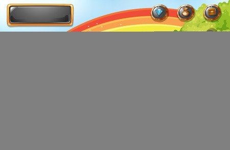 computer clipart: Game template with rainbow and field background