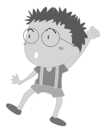 eyeglasses: Happy boy wearing eyeglasses rising his hand