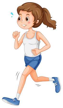 Girl in sportswear jogging alone Illustration