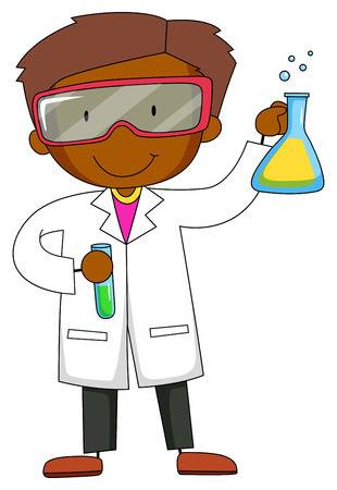 gown: Scientist in gown holding chemical tube and flask