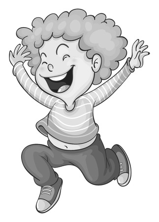 smile close up: Happy boy laughing and jumping