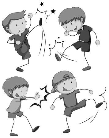 niño empujando: Boy en diferentes posiciones de lucha Vectores
