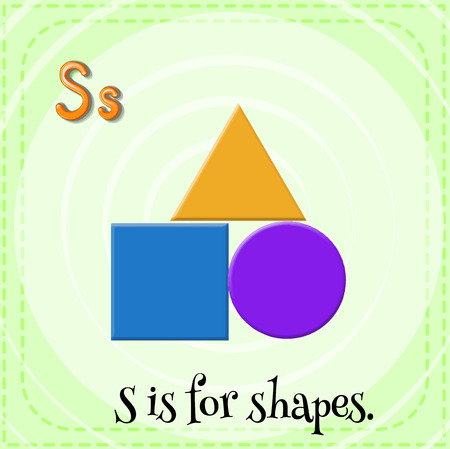 kid s illustration: Flashcard letter S is for shapes