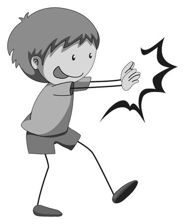 niño empujando: Niño feliz empujando y luchando