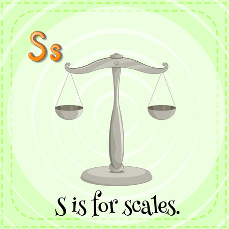 kid illustration: Flashcard letter S is for scales