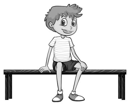 bench alone: Closeup happy boy sitting on the bench Illustration