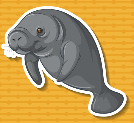 manatee: Close up sea cow swimming alone Illustration