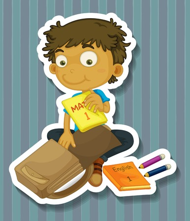Boy packing school bag with textbooks Vector