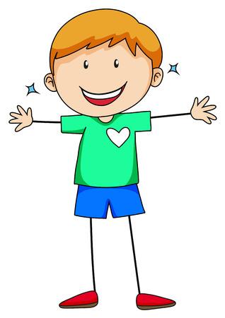 Cute boy in green shirt smiling