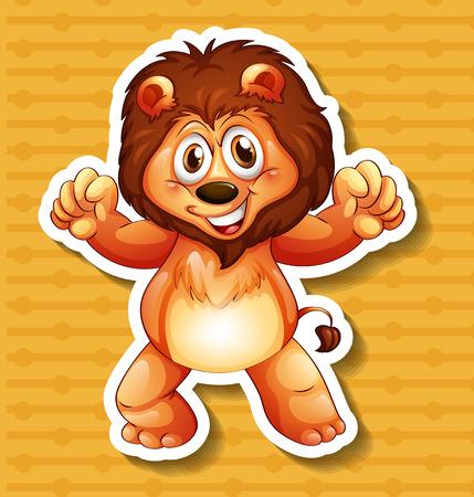 lion roar: Happy lion standing with orange background Illustration