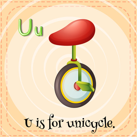 unicycle: Flashcard letter U is for unicycle