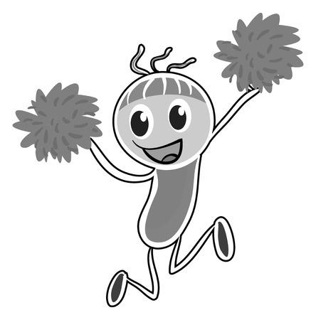 Doodles cheerleader with pom-pom jumping Illustration
