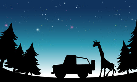 night time: Silhouette vehicle and giraffe at night time Illustration