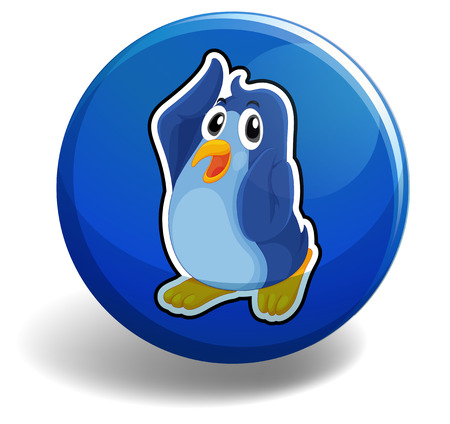 northpole: Cute penguin on blue button