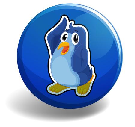 Leuke pinguïn op de blauwe knop