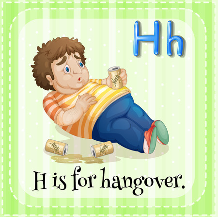 hangover: Flashcard letter H is for hangover