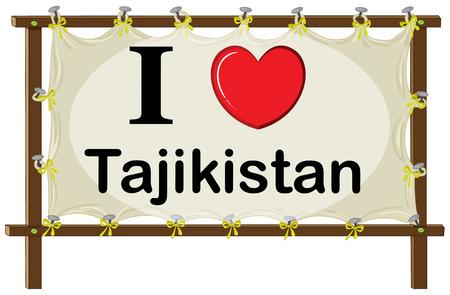 tajikistan: I love Tajikistan sign in wooden frame