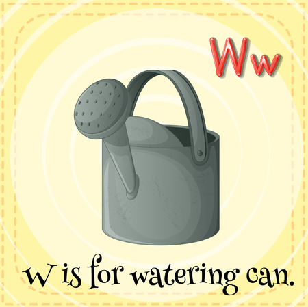 watering can: Flashcard letter W is for watering can