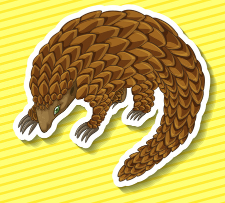 scaly: Close up pangolin on yellow background