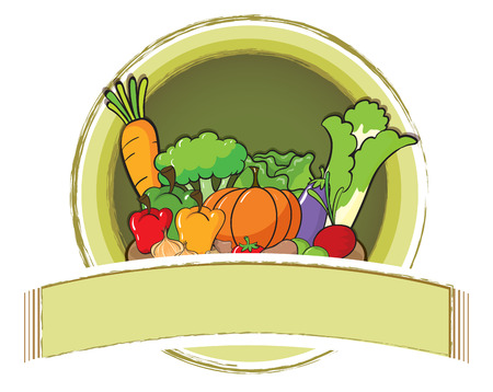 vegetables on white: Empty banner with vegetables background Illustration