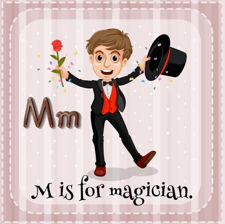 illusionist: Flashcard letter M is for magician
