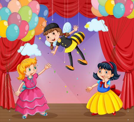 niños actuando: Las niñas que realizan una obra de teatro en el escenario