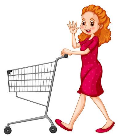 Mujer en vestido rojo empujando el carrito de la compra Foto de archivo - 41343858